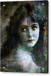 Vintage Woman Pop With Modern Highlights Sepia Vertical  Acrylic Print by Tony Rubino