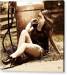Vintage Woman With Retro Style Acrylic Print by Jorgo Photography - Wall Art Gallery