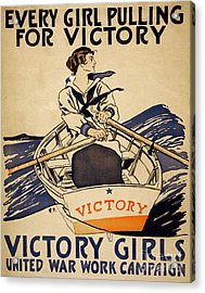 Vintage Women Rowboat Acrylic Print