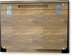 Vintage Wooden School Desk Closeup Acrylic Print by Allan Swart