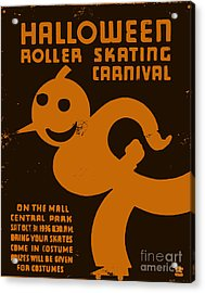 Vintage Wpa Halloween Roller Skating Carnival Poster Acrylic Print