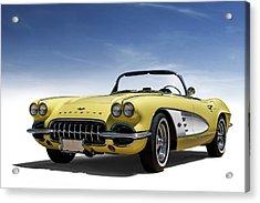 Vintage Yellow 'vette Acrylic Print by Douglas Pittman