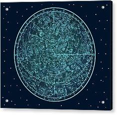 Vintage Zodiac Map - Teal Blue Acrylic Print