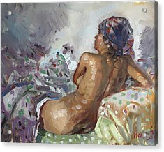 Nude In Violet Acrylic Print by Ylli Haruni