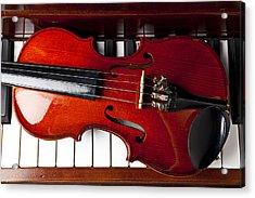 Viola On Piano Keys Acrylic Print by Garry Gay