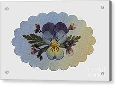 Viola Pressed Flower Arrangement Acrylic Print