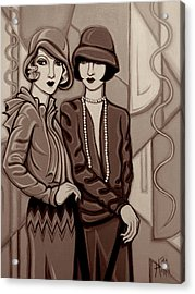 Violet And Rose In Sepia Tone Acrylic Print by Tara Hutton