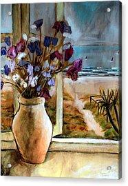 Violet Beach Flowers Acrylic Print