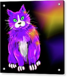 Acrylic Print featuring the painting Violet Dizzycat by DC Langer