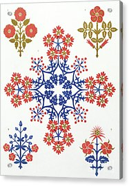 Violet, Iris And Tulip Motif Wallpaper Design Acrylic Print by Augustus Welby Northmore Pugin