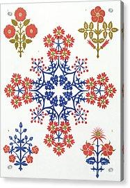 Violet, Iris And Tulip Motif Wallpaper Design Acrylic Print