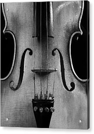 Acrylic Print featuring the photograph Violin # 2 Bw by Jim Mathis