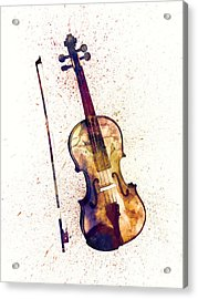 Violin Abstract Watercolor Acrylic Print