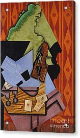 Violin And Playing Cards On A Table, 1913 Acrylic Print by Juan Gris