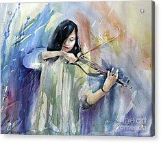 Violin Musician Acrylic Print by Natalia Eremeyeva Duarte