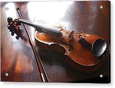 Violin On Table Acrylic Print