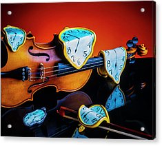 Violin With Melted Watches Acrylic Print
