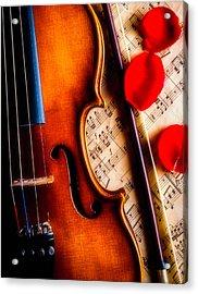 Violin With Rose Petals Acrylic Print