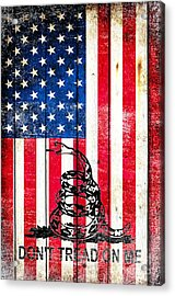 Viper On American Flag On Old Wood Planks Vertical Acrylic Print