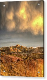 Acrylic Print featuring the photograph Virga Over The Badlands by Fiskr Larsen