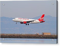 Virgin America Airlines Jet Airplane At San Francisco International Airport Sfo . 7d12180 Acrylic Print by Wingsdomain Art and Photography