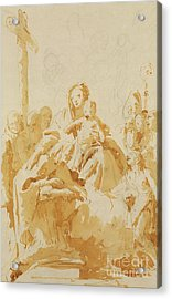 Virgin And Child Adored By Bishops, Monks And Women Acrylic Print by Tiepolo