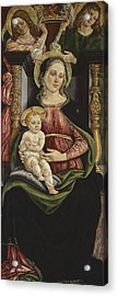 Virgin And Child Enthroned With Two Angels Holding A Crown Acrylic Print by Michele Ciampanti
