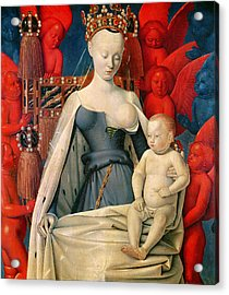 Virgin And Child Surrounded By Angels Acrylic Print by Jean Fouquet