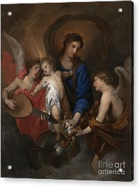 Virgin And Child With Music Making Angels Acrylic Print by Anthony Van Dyck