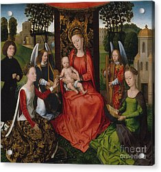 Virgin And Child With Saints Catherine Of Alexandria And Barbara, 1480 Acrylic Print by Hans Memling