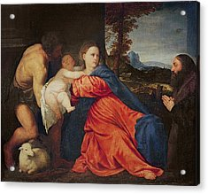 Virgin And Infant With Saint John The Baptist And Donor Acrylic Print by Titian
