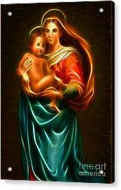 Virgin Mary And Baby Jesus Acrylic Print by Pamela Johnson