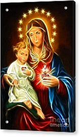 Virgin Mary And Baby Jesus Sacred Heart Acrylic Print