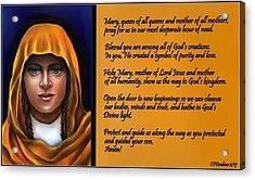 Spiritual Virgin Mary And Prayer Acrylic Print by Carmen Cordova