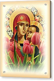 Virgin Mary And Tulips      Acrylic Print
