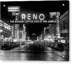Virginia Street In Reno Acrylic Print by Underwood Archives