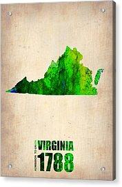 Virginia Watercolor Map Acrylic Print by Naxart Studio