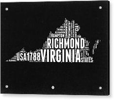 Virginia Word Cloud Black And White Map Acrylic Print by Naxart Studio