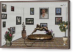 Acrylic Print featuring the mixed media Virtual Exhibition -statue Of Girl by Pemaro
