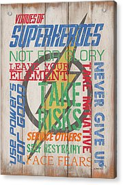 Virtues Of A Superhero Acrylic Print by Debbie DeWitt