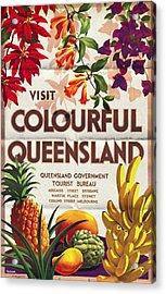 Visit Colorful Queensland - Vintage Poster Folded Acrylic Print