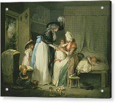 Visit To The Child At Nurse Acrylic Print by George Morland
