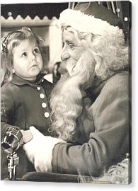 Visiting Santa For The First Time Acrylic Print by Judyann Matthews