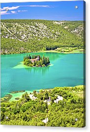 Visovac Lake Island Monastery Aerial View Acrylic Print