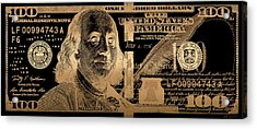 One Hundred Us Dollar Bill - $100 Usd In Gold On Black Acrylic Print