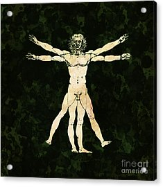 Vitruvian Man Pop Art By Mary Bassett Acrylic Print