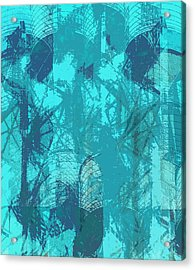 Vivid Blue Seafoam Nyc Water Towers  Acrylic Print by Stan  Magnan