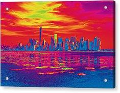 Vivid Skyline Of New York City, United States Acrylic Print
