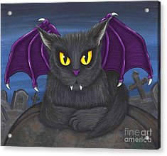 Acrylic Print featuring the painting Vlad Vampire Cat by Carrie Hawks