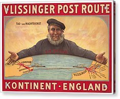 Vlissinger Post Route - Zeeland Maritime Company Poster - London To Flushing Ship Route Acrylic Print